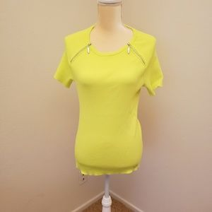 Nygard Bright Yellow/Lime Top with Zipper Accents